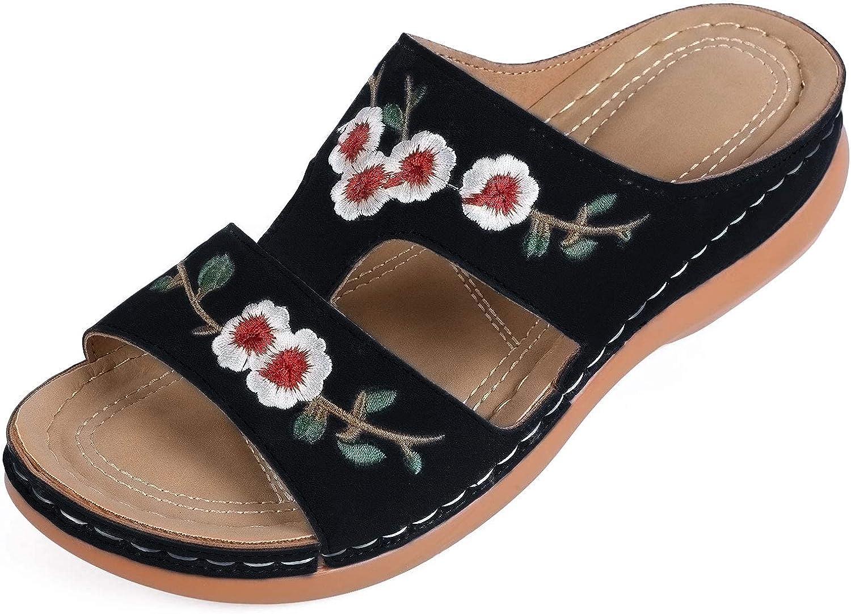 MUYOGRT Zapatillas Plataforma Mujer Sandalias Cuña Verano 2021 Zuecos y Mules Cómodos Chanclas sin Espalda Antideslizante Ortopédica de bordadas retro elegantes Pantuflas con Punta Abierta