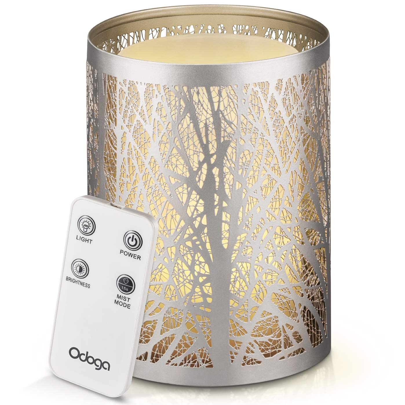 Odoga Aromatherapy Essential Oil Diffuser with Decorative Iron Cover, Ultrasonic Quiet Cool Mist Humidifier with Warm White Color Candle Light Effect, Remote Control & Low Water Auto Shut-Off by Odoga