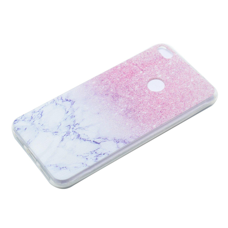 Funluna Ultra Sottile Silicone Gel Morbido Cover Antiurto Cover Huawei P8 Lite 2017 Marmo con Disegni Marmo Custodia Protettiva per Huawei P8 Lite 2017 Crystal TPU
