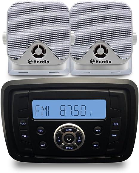 Black Herdio Waterproof UTV ATV Radio MP3 Audio Receiver with Bluetooth Music Marine Stereo Sound System 4inch Marine Box Speakers