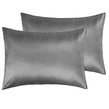 NTBAY Zippered Satin Pillowcases, Super Soft and Luxury Standard Pillow Cases Set of 2, 20 x 26 Inches, Dark Grey