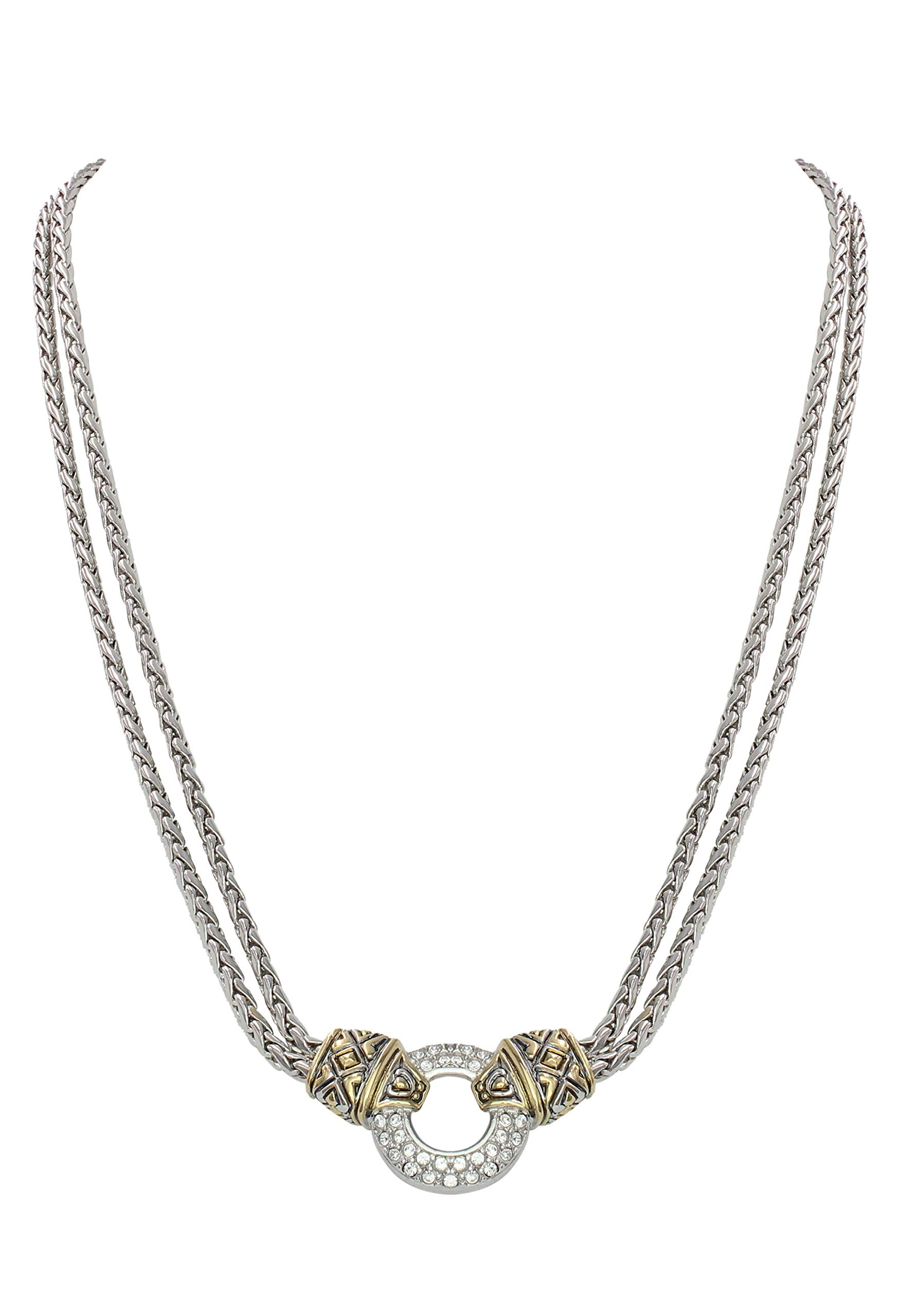 John Medeiros Pavè Setting Cubic-Zirconia Circle Double Strand Gold and Silver Tone Necklace 16'' Inner Diameter Made in The USA by John Medeiros (Image #1)