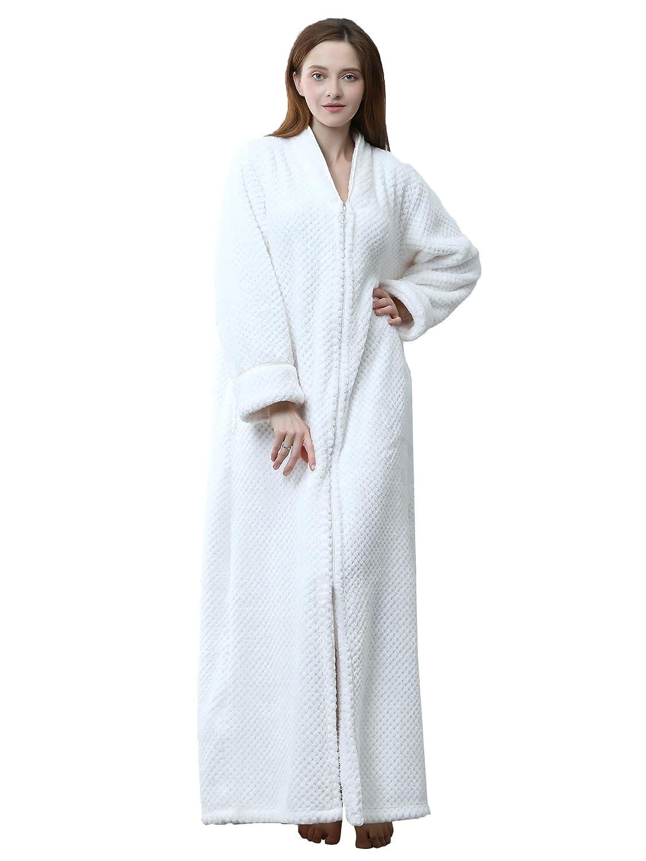 Haine Unisex Full Zip Dressing Gown Shawl Collar Calf Length Fleece