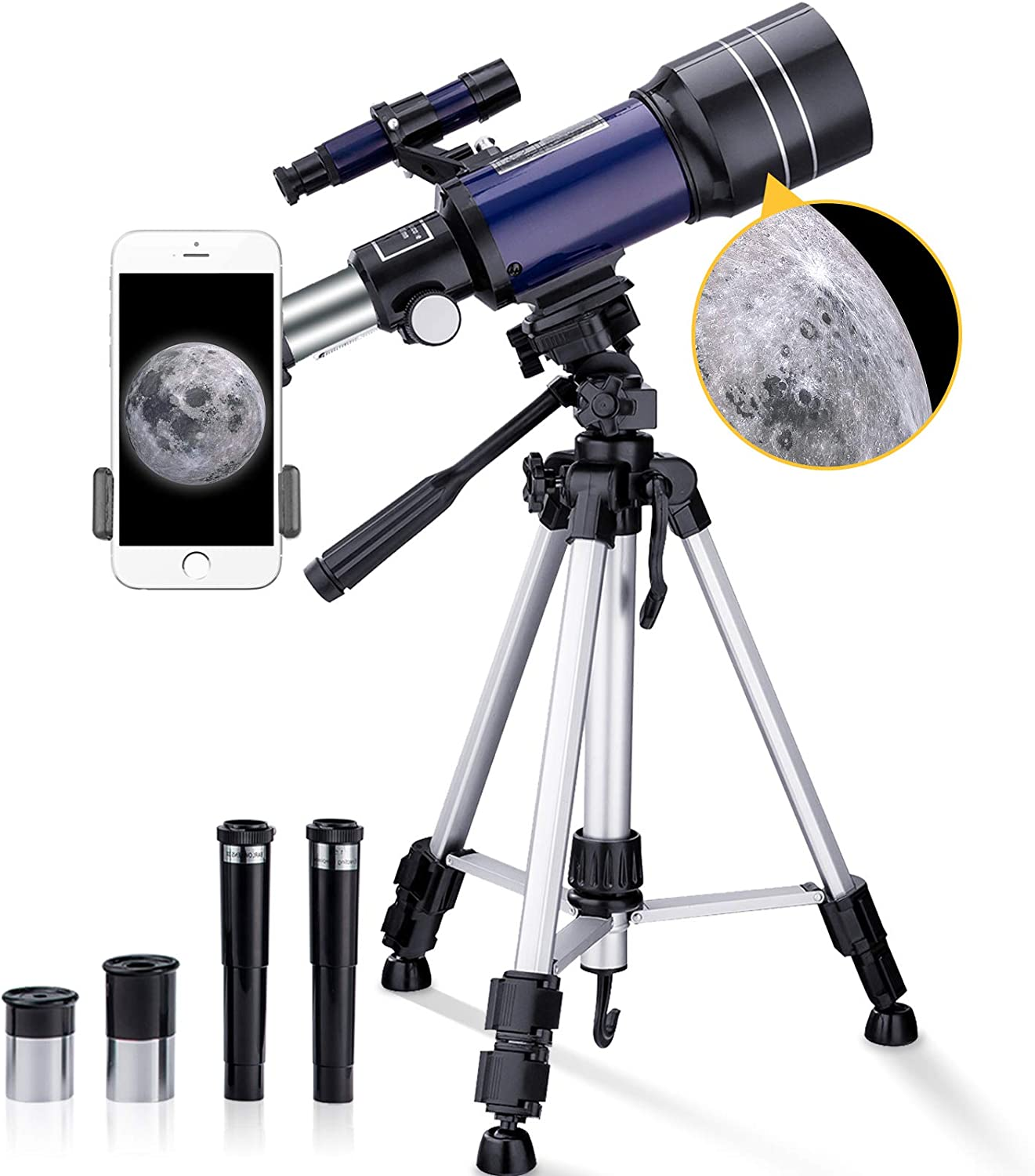 Portable Travel Scope with 43 inch Aluminum Tripod and Phone Adapter BNISE Telescope for Kids Adults 15X-150X Kids Telescope for Astronomy Beginners 70mm Aperture 300mm Astronomical Refractor Telescope