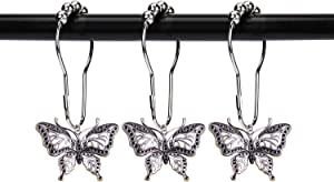 ZILucky 12pcs Butterfly Decorative Shower Curtain Hooks Garden Nature Insect Style Theme Home Rustproof Shower Curtain Rings Bathroom Decor Accessories (Silver)