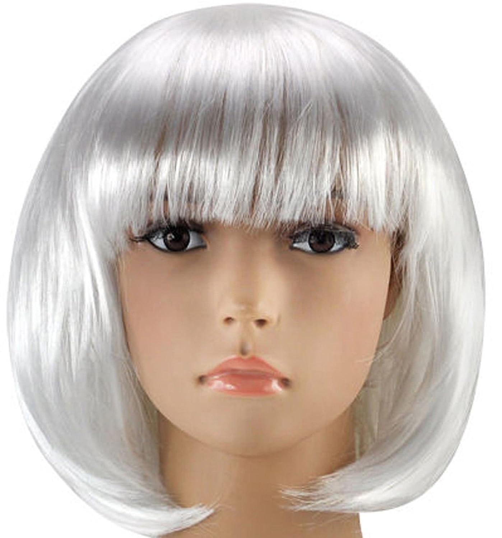 Matissa Mujeres Cortas Peluca Bob Fancy Dress Cosplay Wigs Pop Party Costume Blanco // Plata