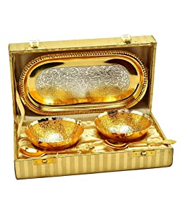 Urban Crafts India Gold and Silver Plated Brass Bowl with Box -Set of 5 Pieces
