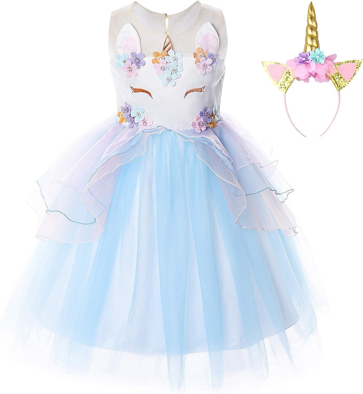 JerrisApparel Disfraz Unicornio Niña Volantes Flor Boda Partido Princesa Vestido