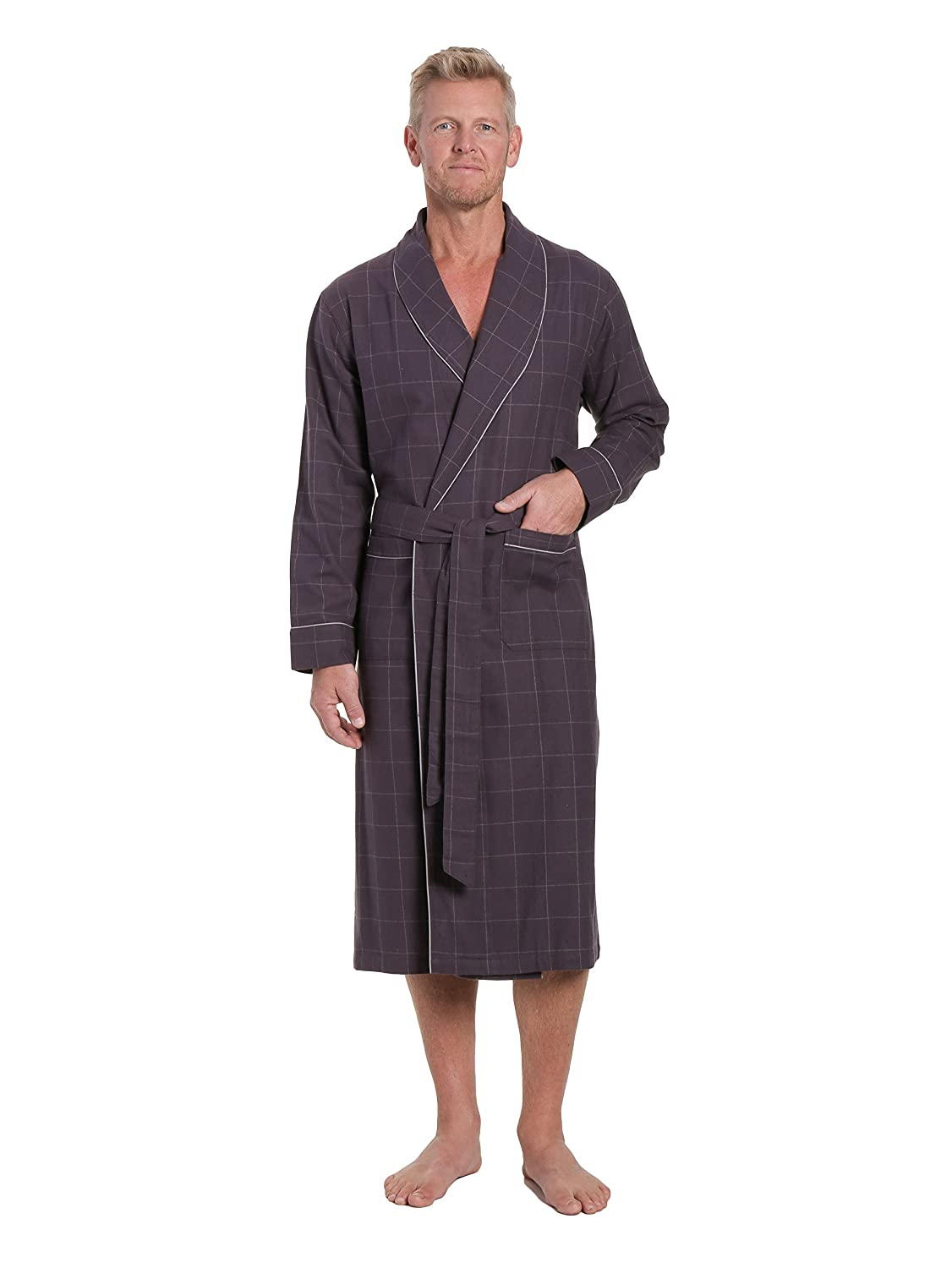 Noble Mount Mens Premium 100% Cotton Flannel Robe