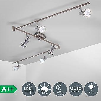 LED Spot Design Strahler Chrom Deckenleuchte Lampe Deckenlampe verstellbar 6er