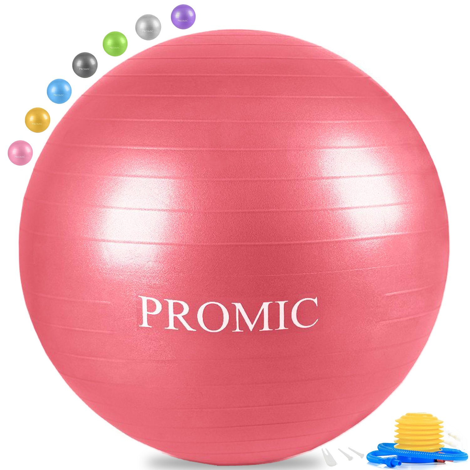 PROMIC Professional Grade Static Strength Exercise Stability Balance Ball with Foot Pump,85cm,Red