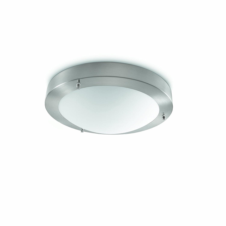 Philips salts lampada bagno soffitto metallo satinato con vetro diametro 31 cm ip44 for Lampada bagno soffitto
