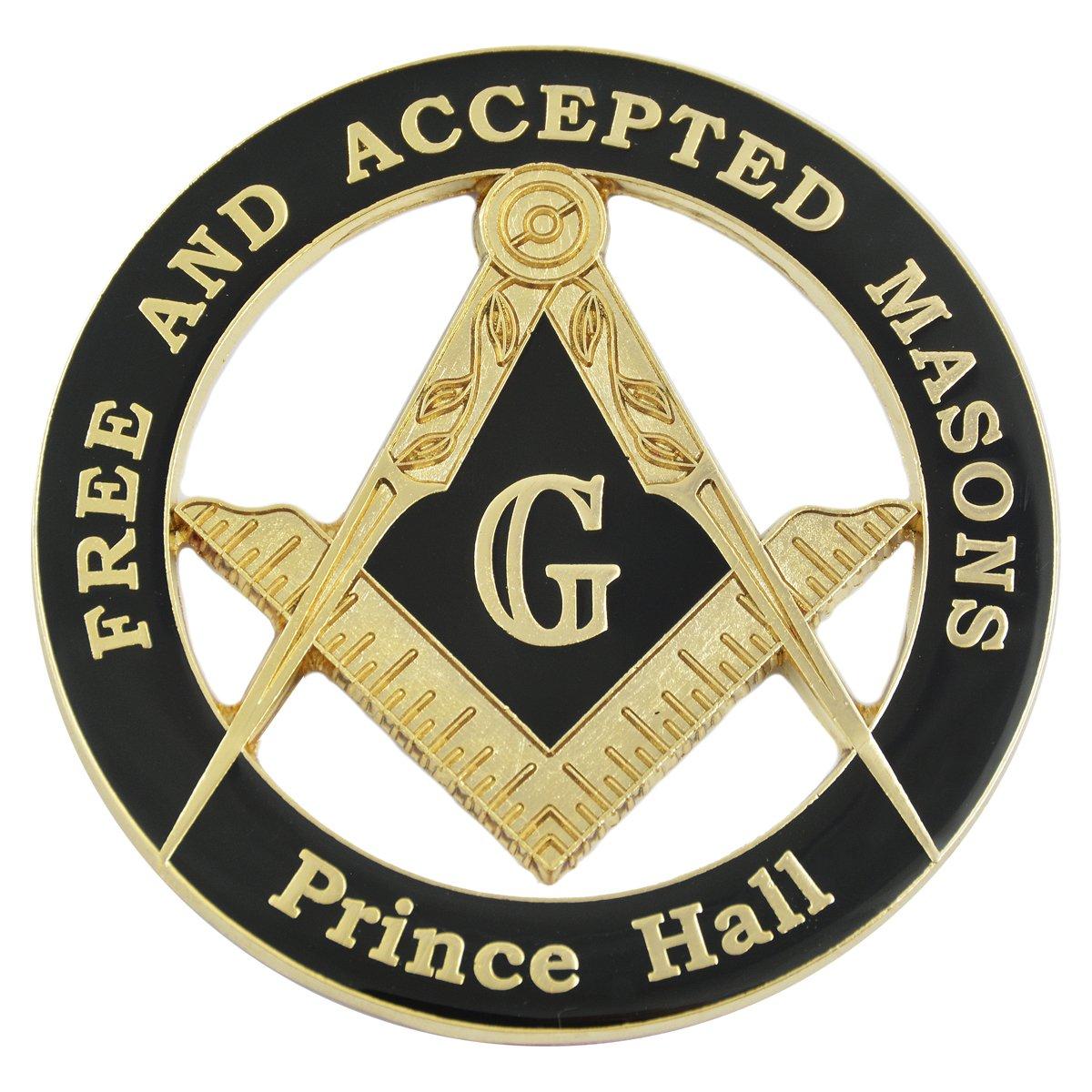 3 Diameter Prince Hall Free /& Accepted Masons Black /& Gold Masonic Auto Emblem