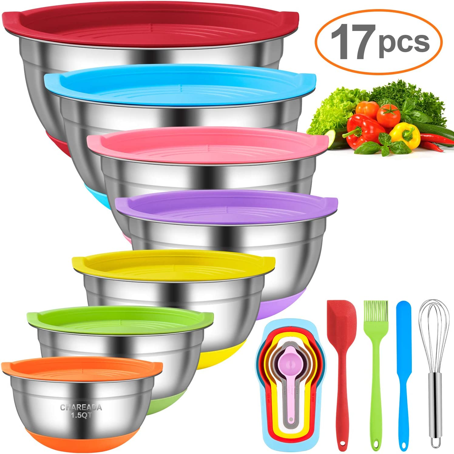 Mixing Bowls with Airtight Lids, CHAREADA 17pcs Stainless Steel Nesting Mixing Bowls Set – Non-slip Silicone Bottom, Size 7, 5.5, 4, 3.5, 2.5, 2, 1.5 QT, Fit for Mixing & Serving