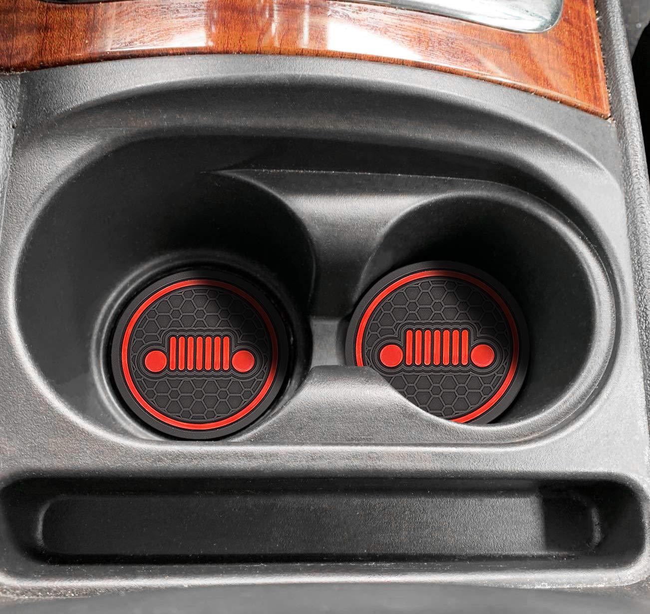 MLING 2,75 Pouces Diam/ètre Voiture Anti Poussi/ère Coupe Holder Tapis Antid/érapante Compatible pour Compass 4 Pi/èces Orange, Mod/èle-2