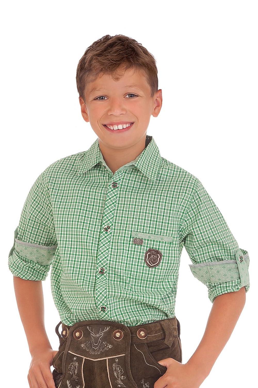 Trachten Kinderhemd - Ki-H048 - ALADIN - rot, grün