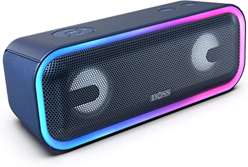 DOSS SoundBox Pro Wireless Bluetooth Speaker with 24W Impressive Sound, Booming Bass, Wireless Stereo Pairing, Mixed Colors Lights, IPX5 Waterproof, 15 Hrs Battery Life, 66 ft Bluetooth Range – Blue