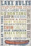 Lake Rules - Barnwood Painting (12x18 Collectible Art Print, Wall Decor Travel Poster)