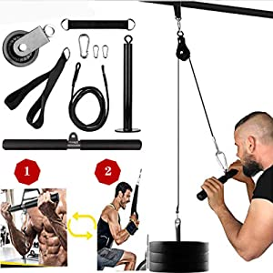 Riiai Fitness LAT and Lift Pulley System, Cable Machine with Upgraded Loading Pin for Home Gym & Fitness Workout, Pull Down for Exercise Your Triceps, Biceps Curl,Back, Forearm, Shoulder