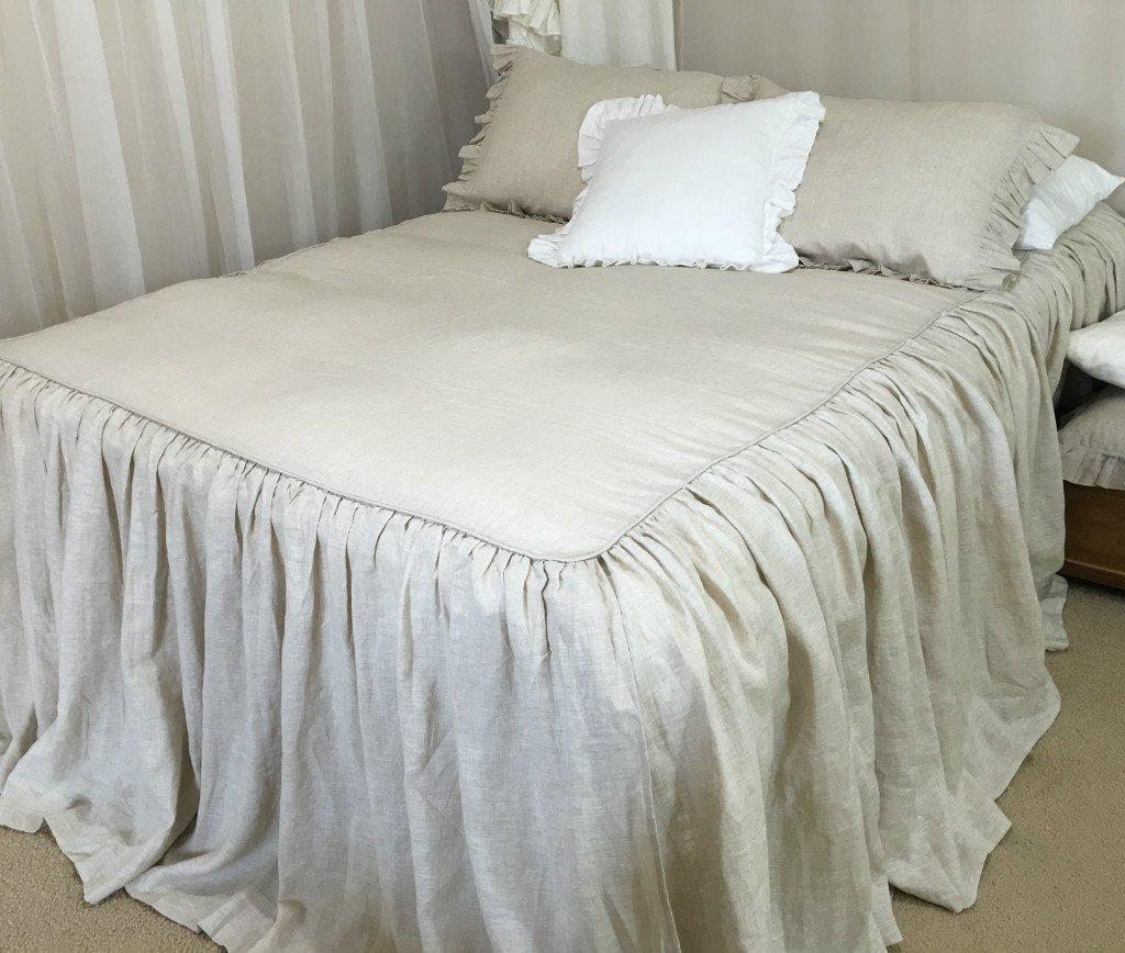 amazoncom bedspreads handmade in natural linen natural linen bed linen chic bedding luxury