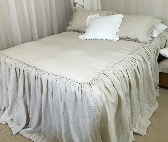 Amazon.com: Bedspreads handmade in natural linen, Natural Linen ... : linen quilt king - Adamdwight.com