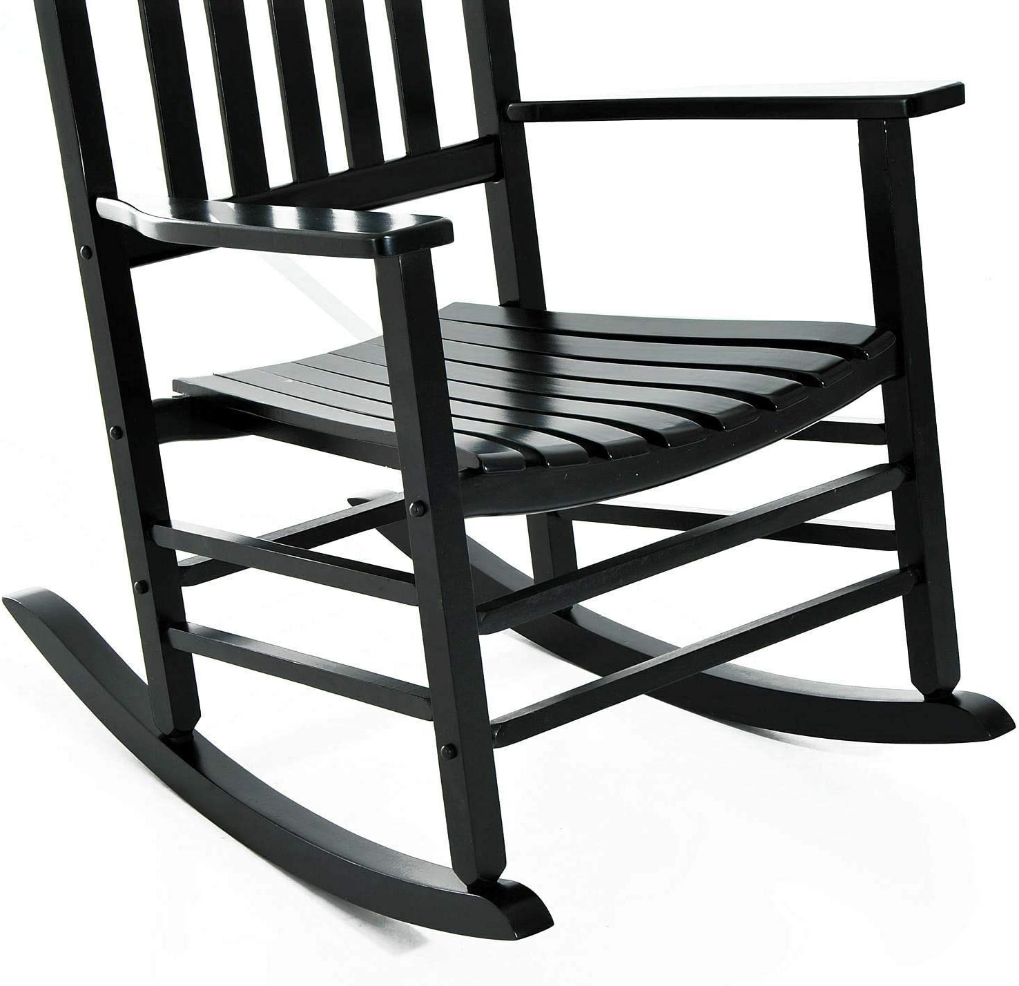 Black Wooden Rocking Chair Rocker Comfortable Armrest Backrest Glider Porch Wide Seat Ergonomically Designed Lightweight Indoor Outdoor Use Home Living Room Bedroom Backyard Balcony Furniture