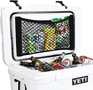AIEVE Cooler Storage Bag, 2 Pack High Capacity Heavy Duty Adhesive Backed Elastic Nylon Mesh Storage Net Cooler Organizer for Coolers