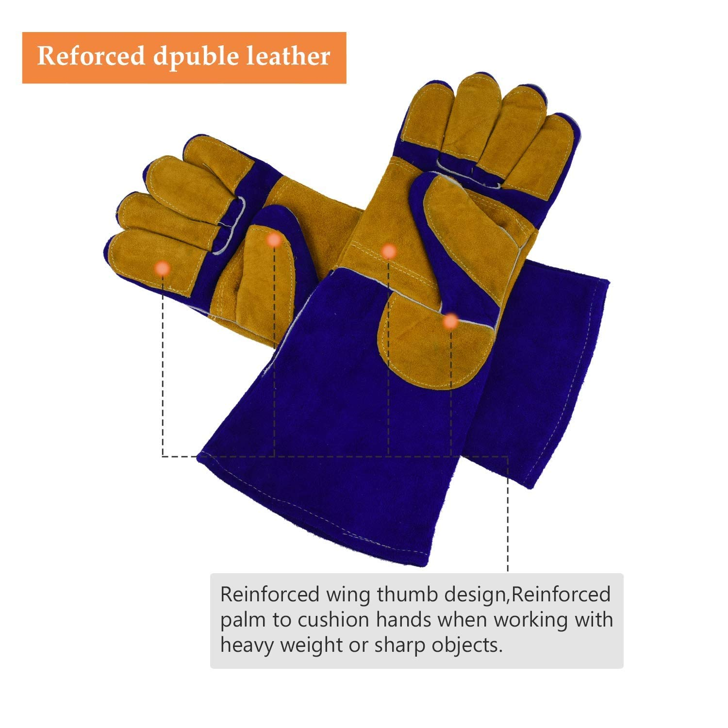AINIYF Heavy Duty Heat Resistant & Flame Retardant Welding & BBQ Gloves, Premium Cowhide Leather, Long 15.7 Inch Forearm Protection, Blue, Size Large by AINIYF (Image #2)