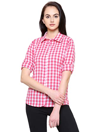 35515a4cf Fashion205 Women's Cotton Fashion Village Checkered Shirt (Pink, Small)