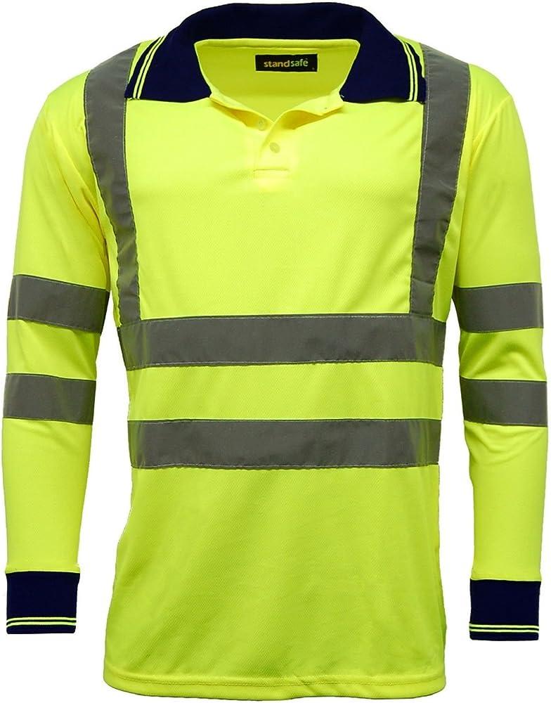 Hombres de Polo Camisetas Hi Vis de Alta Visibilidad Manga Larga ...