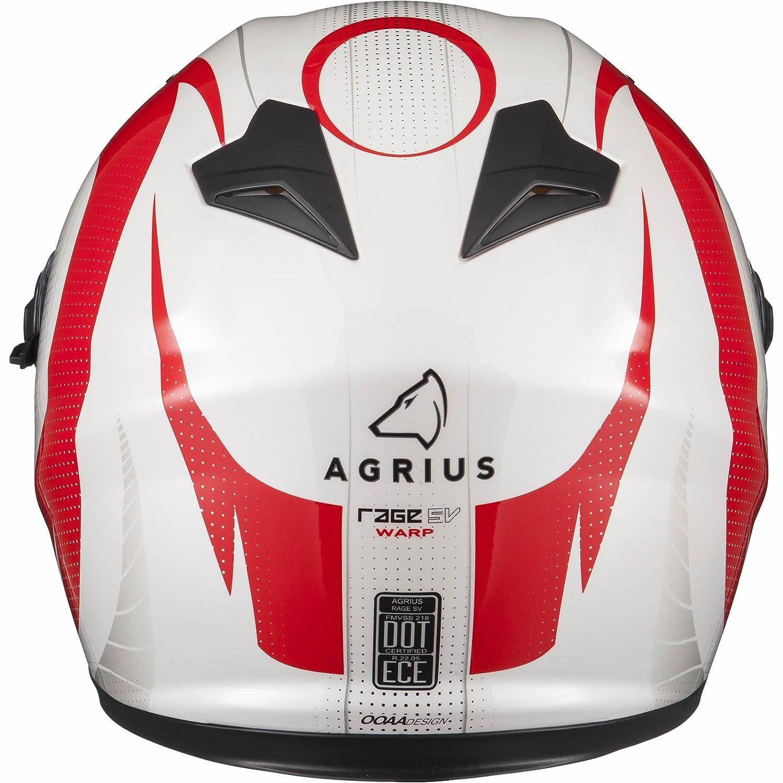 Agrius Rage SV Warp Motorcycle Helmet M Gloss Pearl White//Red