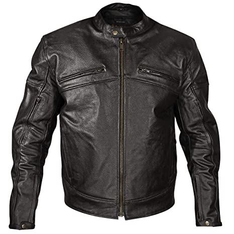 Xelement XSPR105 The Racer Mens Black Armored Leather Racing Jacket Large