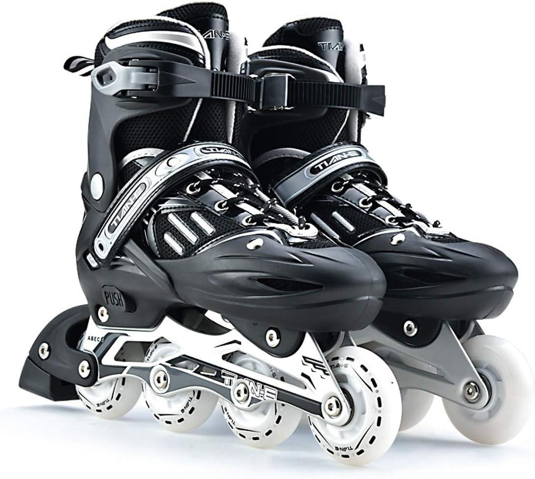 ローラーブレード、ローラースケート、インラインスケート、子供/大人、クラシックホワイト、ハイプロファイル、初心者用スケート、簡単に着用、楽しいスケート、屋内/屋外用ローラースケート、誕生日、フェスティバル、すべての若い人たちにぴったりのギフトパッケージに含まれるもの:ローラーブレード、ヘルメット、靴収納バッグ、保護具セット (Color : 黒, Size : 8)
