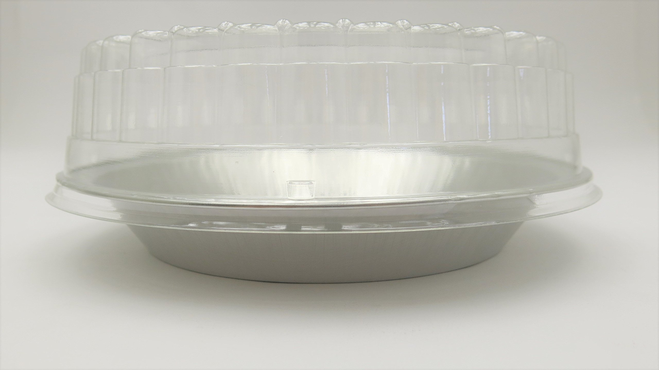 9'' Heavy Disposable Aluminum Pie Pans w/ Choice of High Dome or Low Dome Lids. Made by HFA #409DL (200, W/ Low Dome Lids)