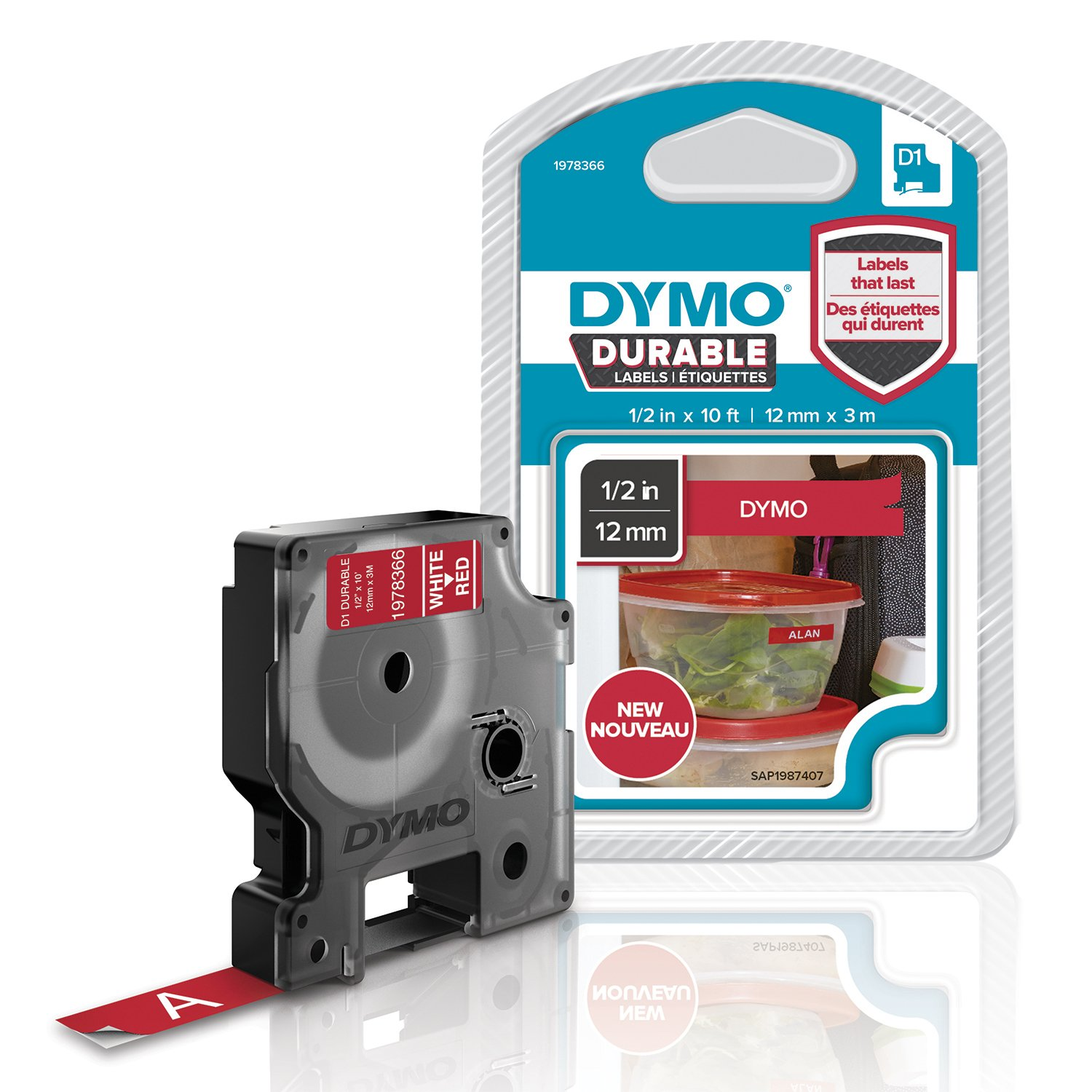 DYMO D1 Durable Labeling Tape for LabelManager Label Makers, White Print on Red Tape, 1/2'' W x 10' L, 1 Cartridge (1978366)