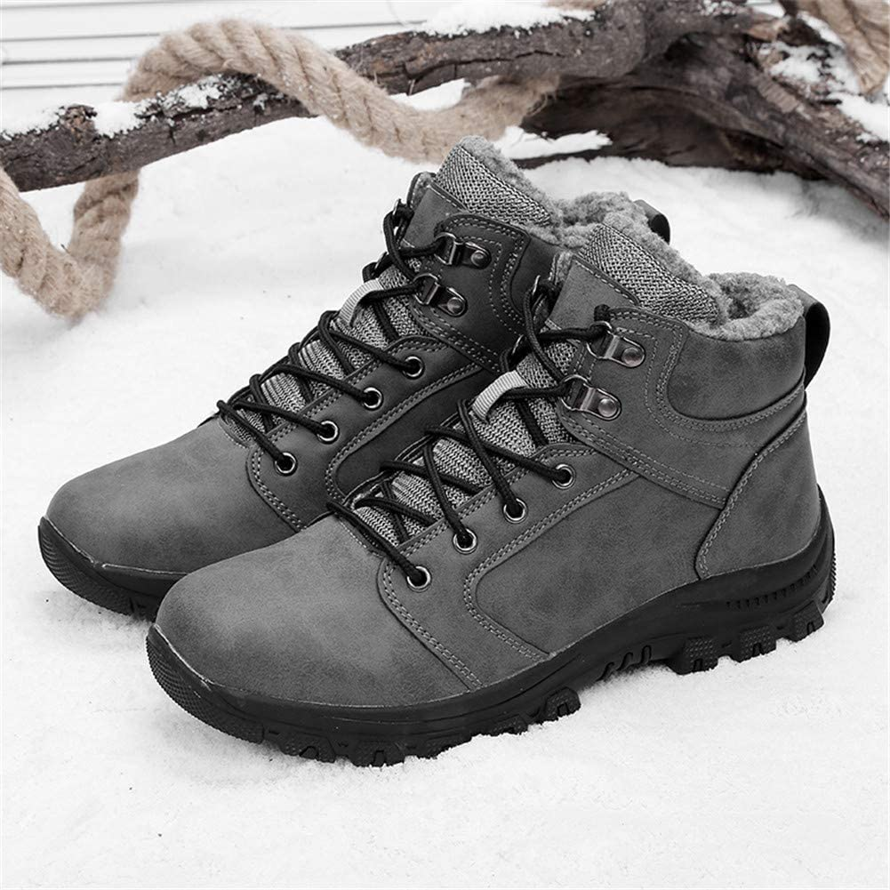 Leader Show Mens Outdoor Walking Snow Boots Waterproof Fur Lined Warm Sneaker Shoes