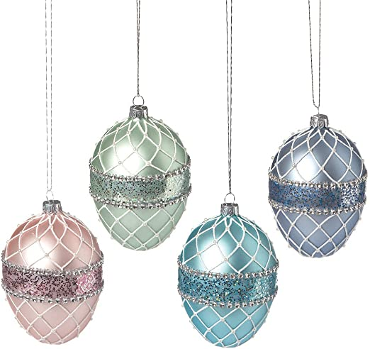 EASTER HANGING EGG GLITTER ORNAMENTS DECOR DECORATIONS SET OF 8