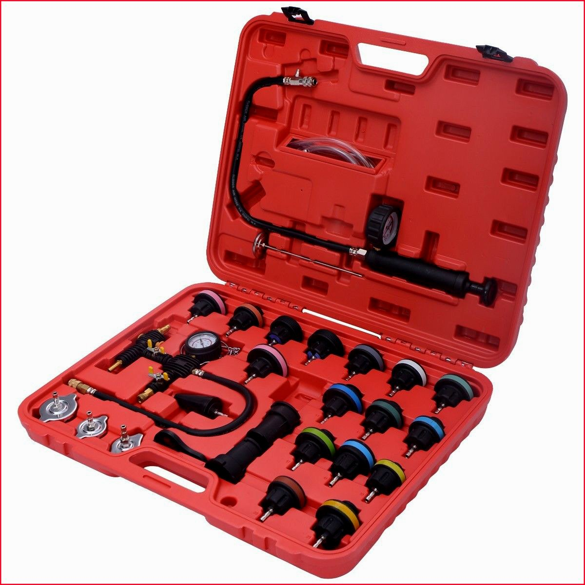Cooling System Refill Kit Complete Set Radiator Pressure Tester Vacuum 27PCS With Case High Performance Professional Automotive Gear - House Deals by House Deals