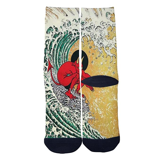 Japanese Ghost Tattoos Picture Socks Colorful Patterned Custom Crew
