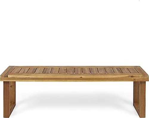 Christopher Knight Home 306123 Kemp Outdoor Acacia Wood Bench, Sandblast Natural Finish