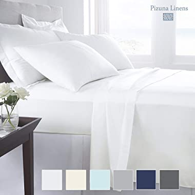 "Pizuna 1000 Thread Count Best Cotton King Size Sheets, 100% Long Staple Cotton White King Sateen Sheets, Luxury Bed Sheets Deep Pockets fit Upto 17"" (100 Cotton King Sheet Sets White)"