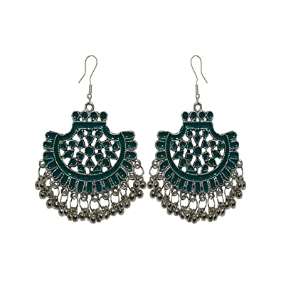 408982f28777 Buy Le Marrow Green Oxidized Silver Dangle   Drop Earring for Women Online  at Low Prices in India