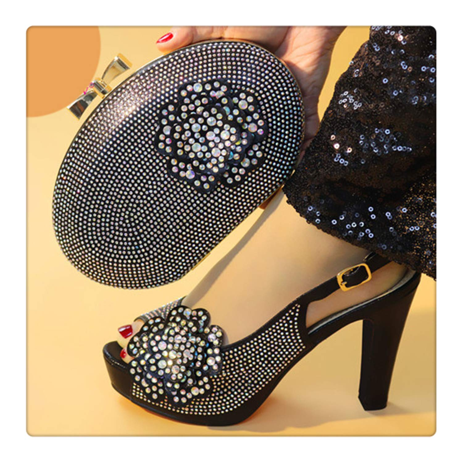 8040be25393a7 Amazon.com: Msanlixian Nigerian Shoes and Matching Bags Set ...