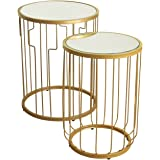 Kinfine Metal Accent Nesting Tables with Glass Top and Gold Base, Set of 2