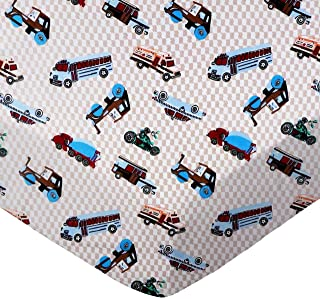 product image for SheetWorld Fitted 100% Cotton Flannel Pack N Play Sheet Fits Graco 27 x 39, Vehicles Cream, Made in USA
