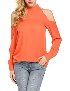 5a4640925e733 SoTeer Womens Casual Cold Shoulder T-Shirt Flowy Swing Tops Chiffon Blouse