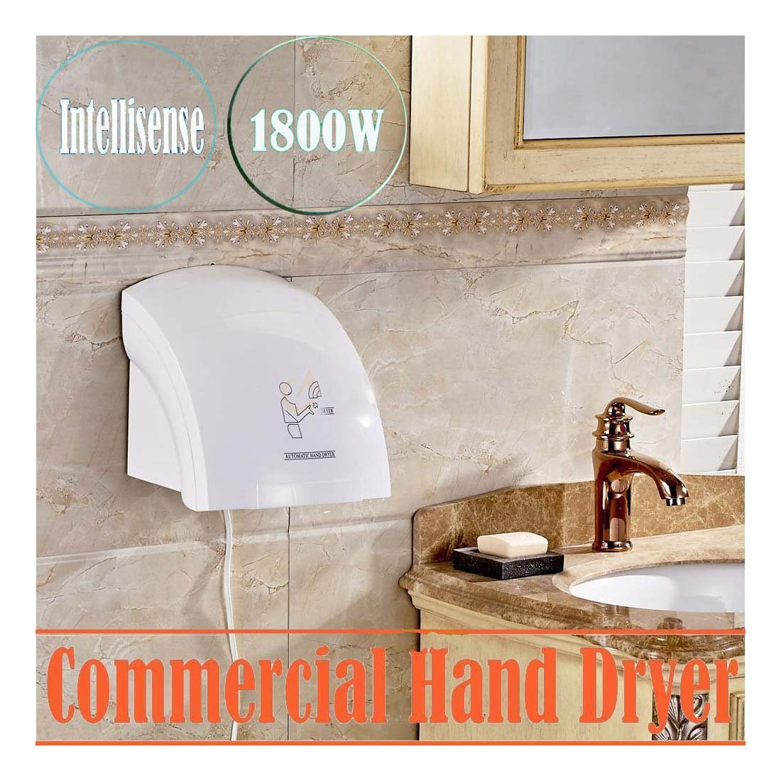 Hotel Automatic Infared Sensor Hand Dryer Household Bathroom Hands Drying Device -Sensor Distance:5.91'' / 15cm