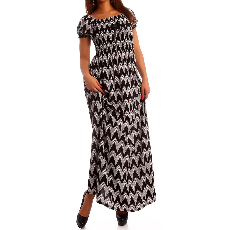 Maxi-Kleid Carmen Kurzarm und mit Ausschnitt - als Stylisches Strand-Kleid  Oder Party-Kleid - Langes Kleid für Frühling, Sommer und Herbst - Jumper  aus 100% ... 106ec0c7a3
