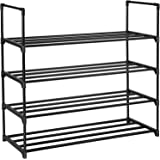 SONGMICS 4-Tier Shoe Rack 20 Pairs Metal Shoe Tower Shelf Storage Organizer Cabinet 35.6 x 11.9 x 33.3 Inches Black…