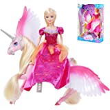 Pink Sparkle Unicorn and Fairy Tale Princess Doll, W/ Crystal Comb and Fairy Stick, Girls' Unicorn Doll Toys Gifts…